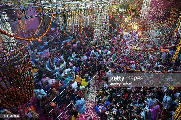 Flower petals rain down on devotees and revellers gathered at the Bankey Bihari Temple in Vrindavan during the opening of a 5 day festival of worship...