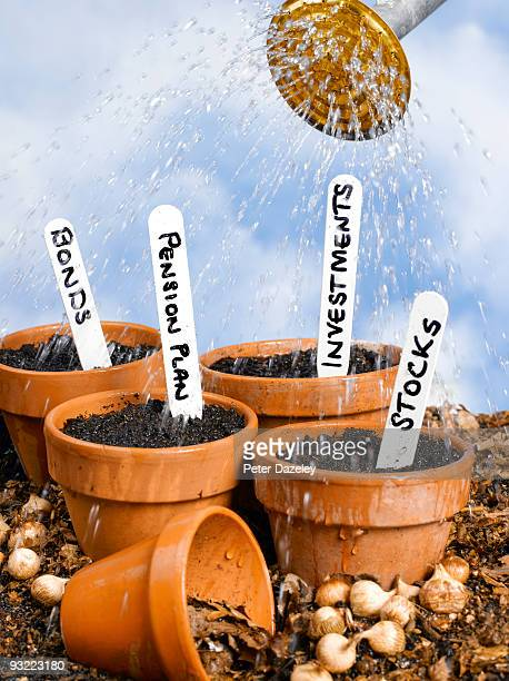 Flower pots being watered with investment labels.