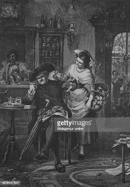 Flower seller in an1883 abbildung abbildungen ablehnen ablehnend ablehnende ablehnender ablehnendes ablehnung abwehren alt alte alter altes an...