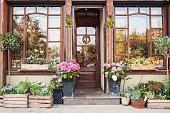 Flower store entrance