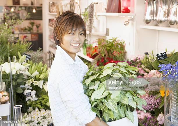 A flower shop staff
