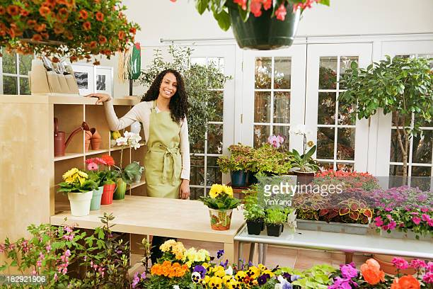 Flower Shop Store, with African Ethnic Small Business Owner Florist