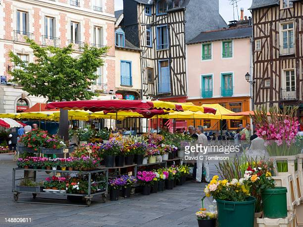 Flower stalls in Place Saint-Michel.