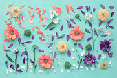 Pattern of flowers on canvas, flat lay