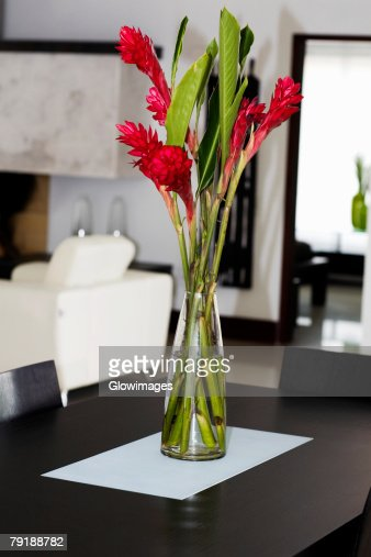 Flower vase on a table : Stock Photo