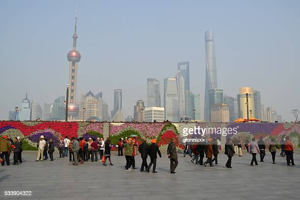 Flower Wall on The Bund and Lujiazui skyline, Shanghai, China