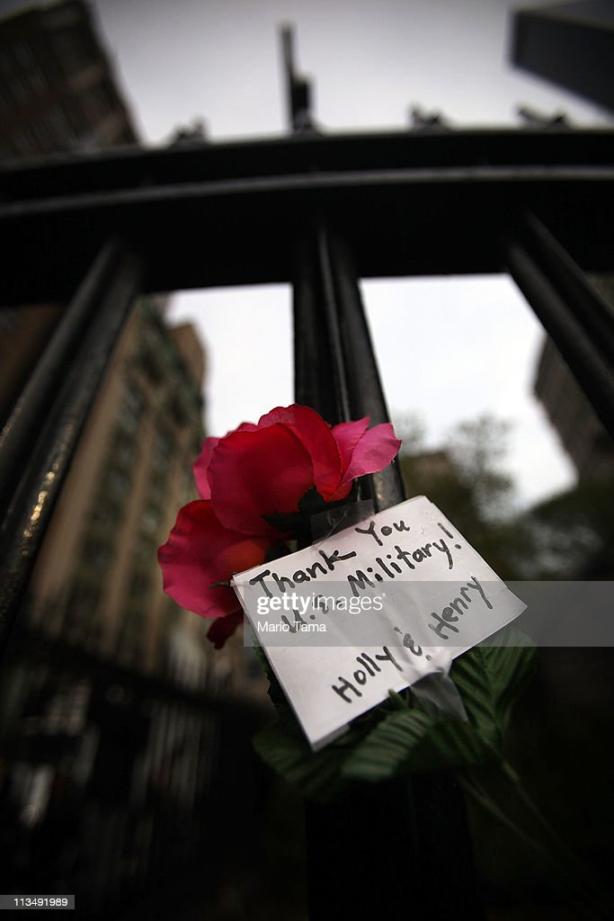 A flower with a messaqge reading 'Thank You U.S. Military' is seen across the street from the World Trade Center site after the death of accused 9/11 mastermind Osama bin Laden was announced May 2, 2011 in New York City. Bin Laden was killed in an operation by U.S. Navy Seals in a compound in Abbottabad, Pakistan.