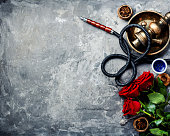 Hookah with rose aroma for relax.Shisha hookah.Hookah with flower.Flower smoking tobacco