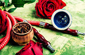 East hookah with rose aroma for relax.Shisha hookah.Hookah with flower.