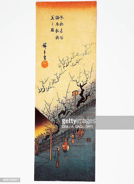 Flowering plum tree and the teahouse in Umeyashiki ukiyoe art print by Utagawa Hiroshige from Famous Views of the Eastern Capital Chutanzaku woodcut...