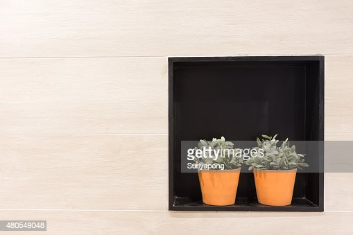 Flowerpot in the wall laminate texture and background. : Stock Photo