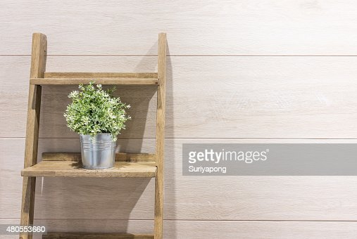 Flowerpot on the stair with wood laminate background. : Stock Photo