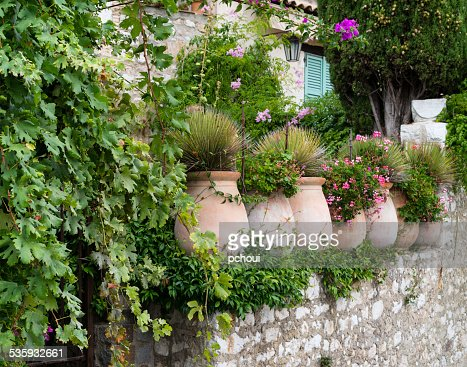Flowerpots in medieval village, France : Stock Photo