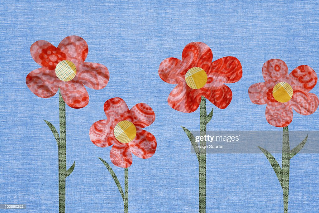 Flowers against blue background