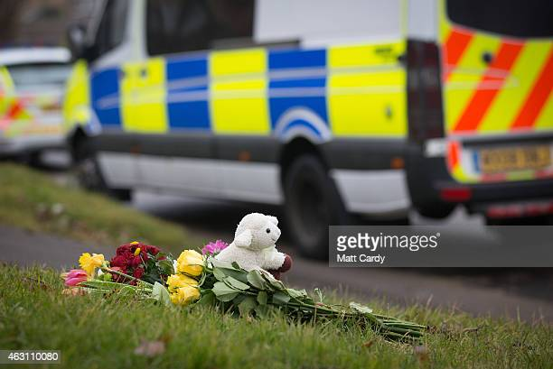 Flowers and a cuddly are left for the victims of a road traffic accident that happened last night on February 10 2015 in Bath England Four people...