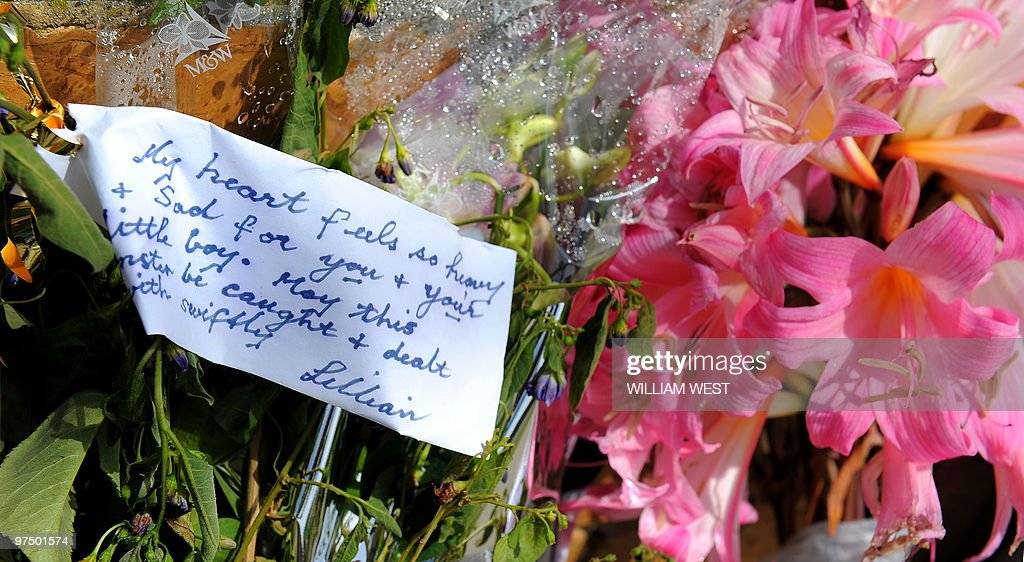 Flowers and a message of support lay outside the home where the parents of murdered Indian boy Gurshan Singh Harjit Singh Channa and Harpreet Kaur...
