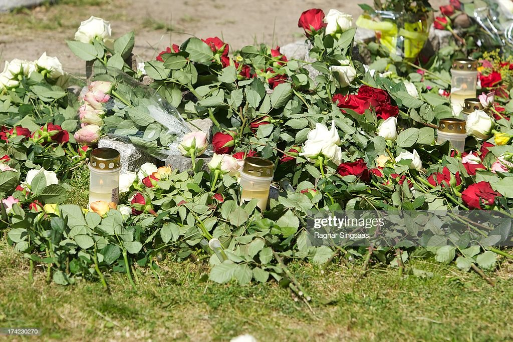 . Flowers and candles are placed outside Oslo Cathedral in memory of the victims of the 2011 terrorist attacks on July 22, 2013 in Oslo, Norway.