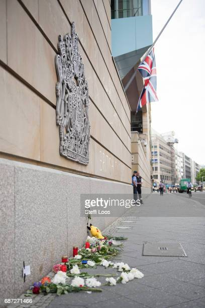 Flowers and candles lay in front of British Embassy on May 23 2017 in Berlin Germany An explosion occurred at Manchester Arena as concert goers were...