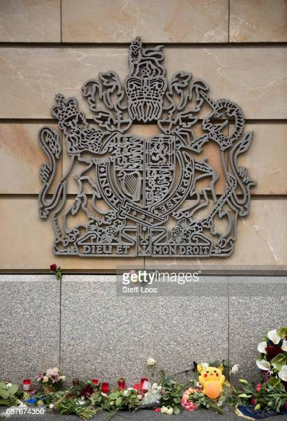 Flowers and candles lay in front of British Embassy on May 24 2017 in Berlin Germany An explosion occurred at Manchester Arena as concert goers were...