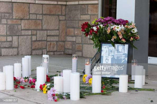Flowers and candles make up a candlelight vigil in honor of Dick Clark at Dick Clark's American Bandstand Theater on April 18 2012 in Branson Missouri