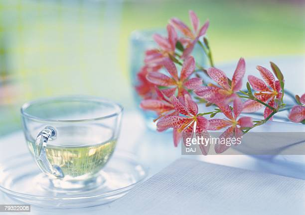 Flowers and Cup of Tea on Table, Close Up, Differential Focus, In Focus, Out Focus