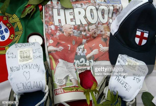Flowers and messages at a shrine in Rossio Square Lisbon for Stephen Smith from Wolverhampton who was stabbed during celebrations after the Euro 2004...
