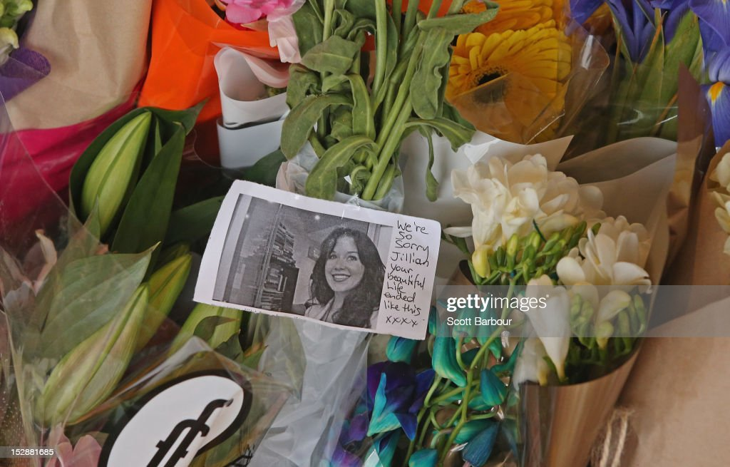 Flowers and messages sit outside of the front of the Duchess Boutique on Sydney Rd, the store which captured the last CCTV footage of Jill Meagher on September 28, 2012 in Melbourne, Australia. Coburg man Adrian Ernest Bayley was charged overnight with the murder and rape of Irish national Jill Meagher. Her body was found by police buried in a shallow grave north-west of Melbourne.