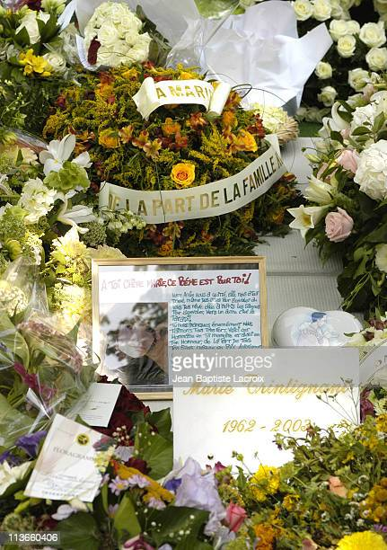 Flowers and notes of condolence from fans around the world for French Actress Marie Trintignant