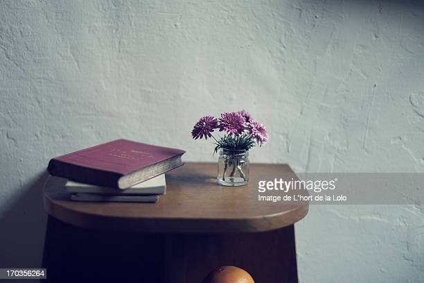 Flowers and old books