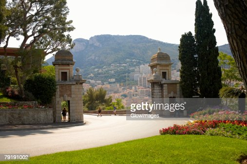 Flowers and trees in a garden, Monte Carlo, Monaco : Stock Photo
