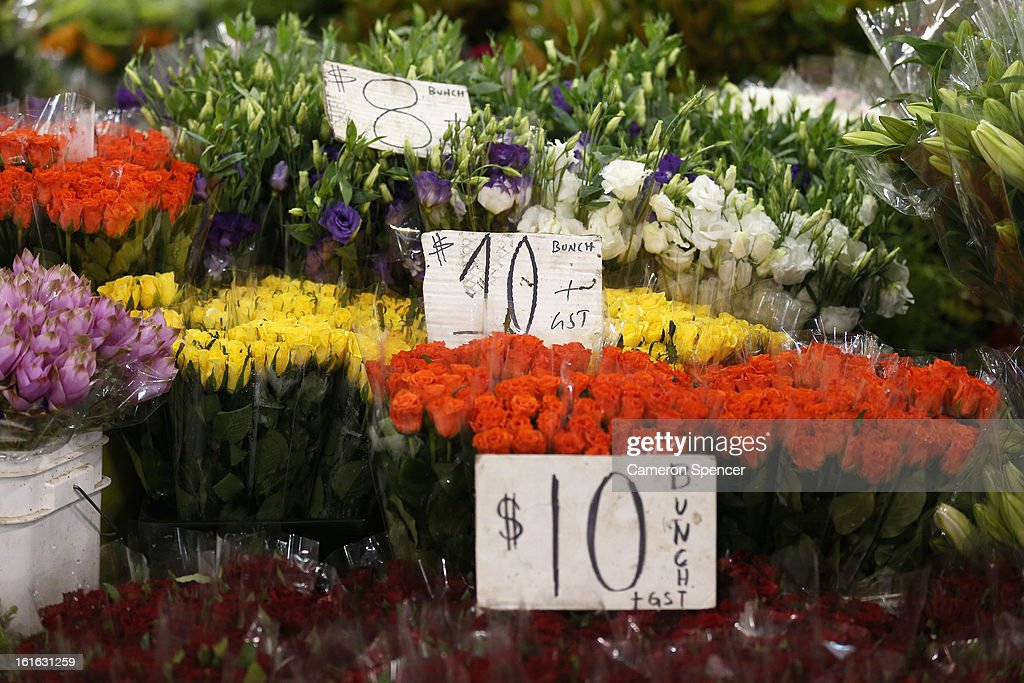 Flowers are displayed during Valentines Day at Sydney Flower Market on February 14, 2013 in Sydney, Australia. Due to an unusually hot January in Australia an increasing number of roses have been sourced from South America and Africa to ensure Valentines supplies don't run out.