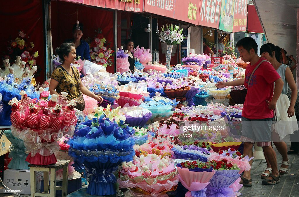 Flowers are displayed for sale at a flower store on August 13, 2013 in Xi an, China. The Chinese Valentine's Day falls on the 7th day of the 7th month on the Chinese lunar calendar which falls on August 13 this year.