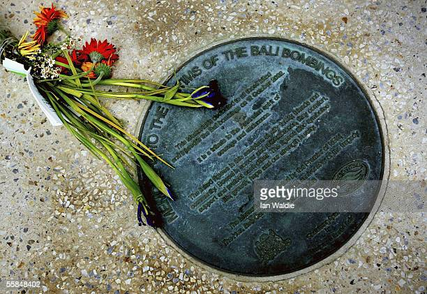 Flowers are laid at the Bali Bombing memorial at Dolphin Point on Coogee beach October 4 2005 in Sydney Australia 22 people including four...