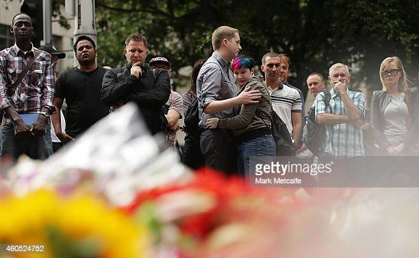 Flowers are left as a sign of respect at Martin Place on December 16 2014 in Sydney Australia Sydney siege gunman Man Haron Monis was shot dead by...
