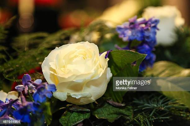 Flowers are left at the memorial service for Udo Juergens at City Hall on January 22 2015 in Vienna Austria Udo Juergens died of acute heart failure...