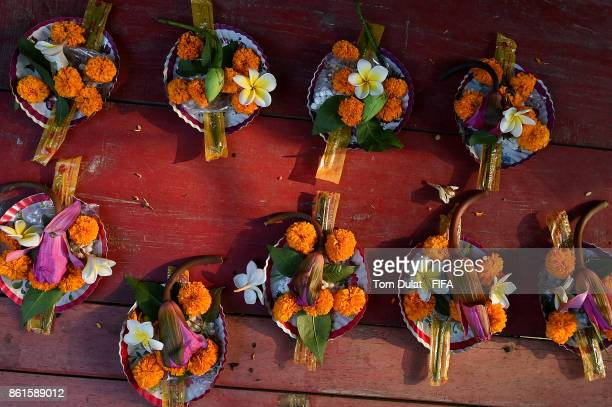 Flowers are pictured at the stall outside Umananda Temple during the FIFA U17 World Cup India 2017 tournament at on October 15 2017 in Guwahati India