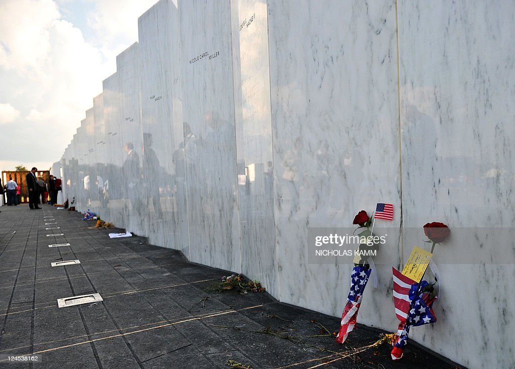 Flowers are placed at the Wall of Names at the newly dedicated Flight 93 memorial at the site where the United plane crashed in Shanksville...