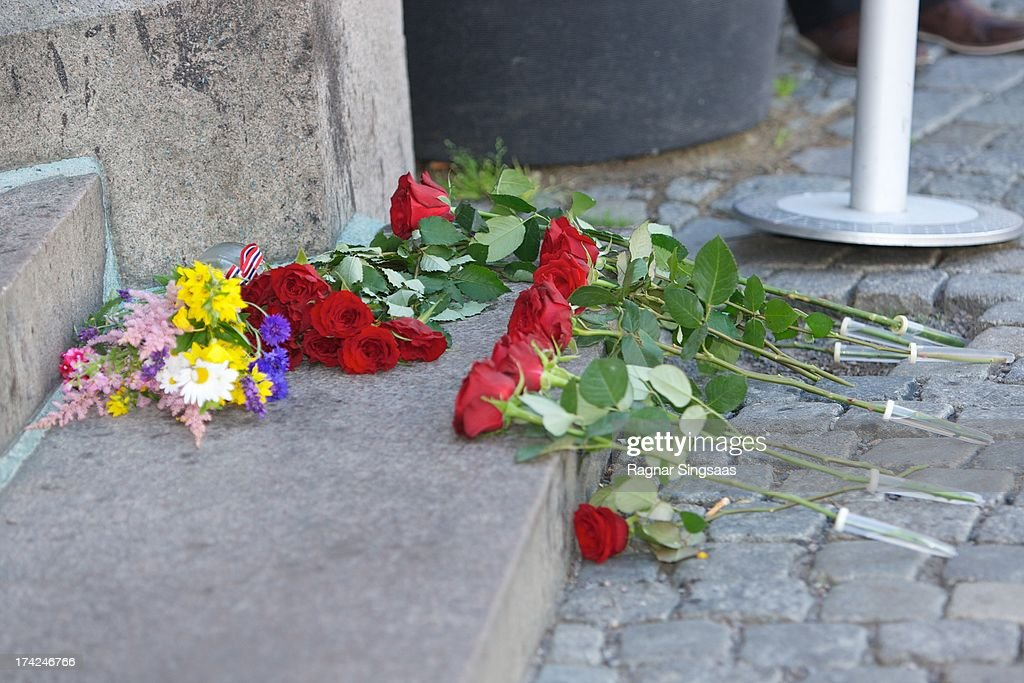 Flowers are placed outside Oslo Cathedral in memory of the victims of the 2011 terrorist attacks on July 22, 2013 in Oslo, Norway.