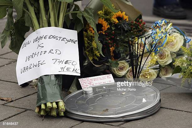 Flowers are seen near the crime scene where Dutch film maker Theo van Gogh was killed November 2 2004 in Amsterdam Netherlands Van Gogh was well...