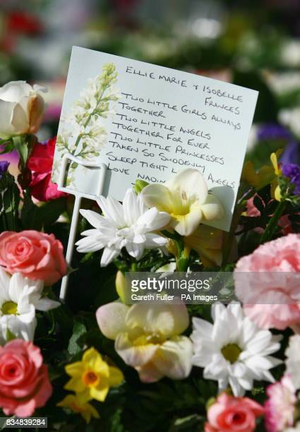 Flowers at the funeral of Ellie Cass and Isobelle Cass 14 months at Holy Cross Church in Eastleigh Hampshire