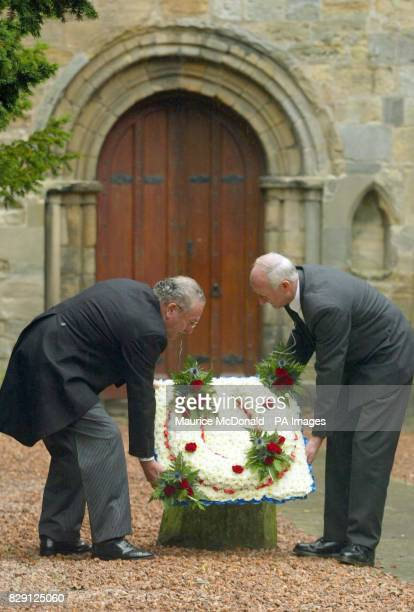 Flowers being laid at the funeral of Alec Stewart at Culross Abbey Church in Scotland Alec Stewart trained great Mtoto ridden by Michael Roberts to...