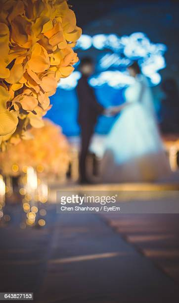 Flowers Blooming With Wedding Couple In Background At Night