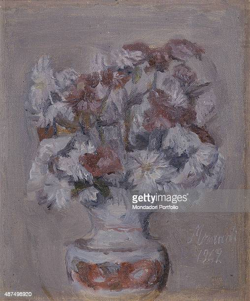 Flowers by Giorgio Morandi 20th Century oil on canvas Whole artwork view Still life with monochrome background composed of a vase with a bunch of...