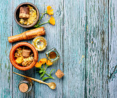 Healing calendula flowers and herbal tincture.Medical herbs
