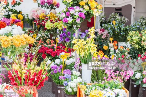 Flowers For Sale At Market Stall