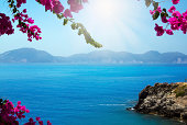 Pink flowers (bougainvillea) blooming at Kefalonia island, Greece, framing the blue Mediterranean Sea. Focus is on the flowers, The sea is slightly out of focuse and it may be used as copy space.