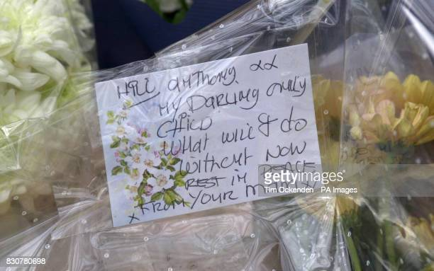 Flowers from a mother to her son at the scene of the accident in which four people died Sunday evening when the car in which they were travelling...