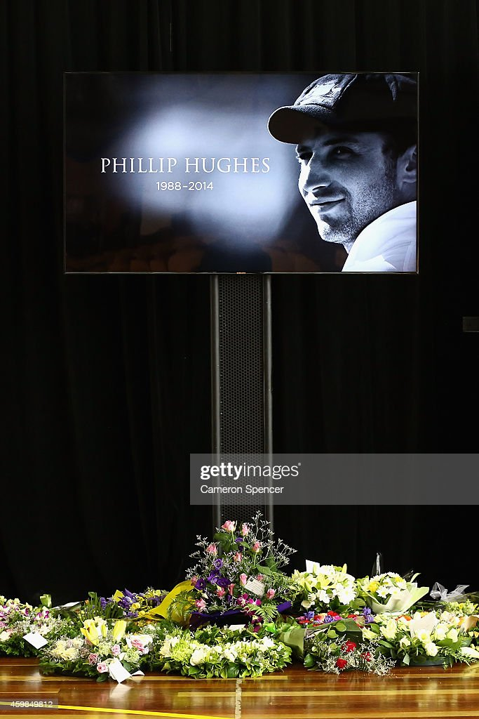 Flowers given to the Hughes family are laid inside the Macksville High School Stadium ahead of the Funeral Service for <a gi-track='captionPersonalityLinkClicked' href=/galleries/search?phrase=Phillip+Hughes+-+Cricketer&family=editorial&specificpeople=757530 ng-click='$event.stopPropagation()'>Phillip Hughes</a> on December 3, 2014 in Macksville, Australia. Australian cricketer <a gi-track='captionPersonalityLinkClicked' href=/galleries/search?phrase=Phillip+Hughes+-+Cricketer&family=editorial&specificpeople=757530 ng-click='$event.stopPropagation()'>Phillip Hughes</a> passed away last Thursday, aged 25, as a result of head injuries sustained during the Sheffield Shield match between South Australia and New South Wales at the SCG on Tuesday 25th November.