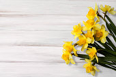 Greeting Card for Easter, Mother's Day, Birthday, March 8. Beautiful background with yellow jonquil flowers on wooden texture.Top view, Flat lay. Horizontal Image With Copy Space