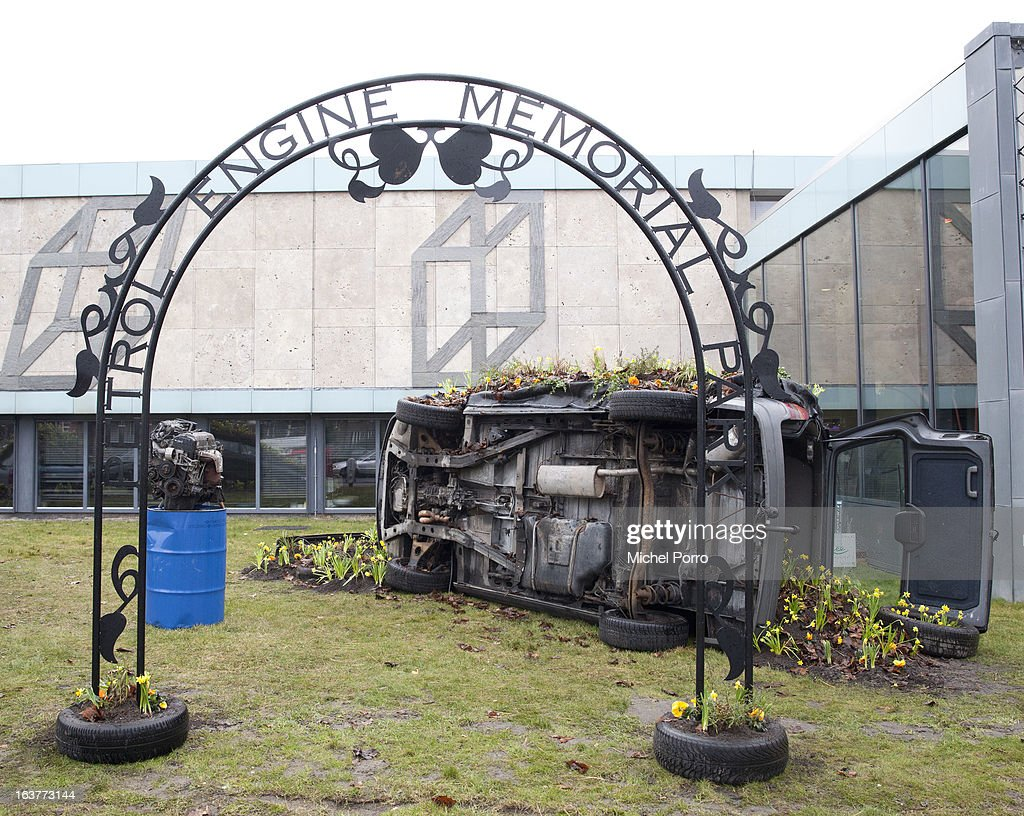. Flowers grow from scrap cars by Finnish artist Tea Makipaa's installation 'Petrol Engine Memorial Park' at the 'Yes Naturally' art manifestation, on March 15, 2013 in The Hague, Netherlands.